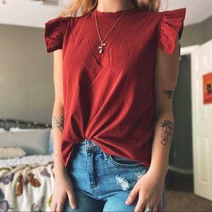 3/$15 ✨ Ruffled shoulder open back top